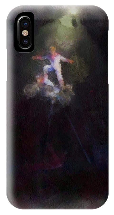 Circus IPhone X Case featuring the photograph Big Top Circus Highwire Motorcycle Act Photo Art by Thomas Woolworth