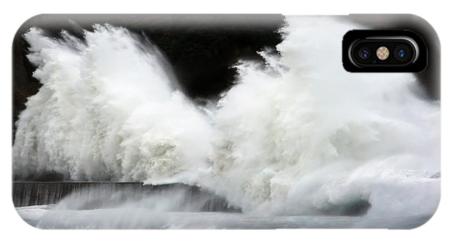 Breakwater IPhone X / XS Case featuring the photograph Big Waves Breaking On Breakwater by Mikel Martinez de Osaba