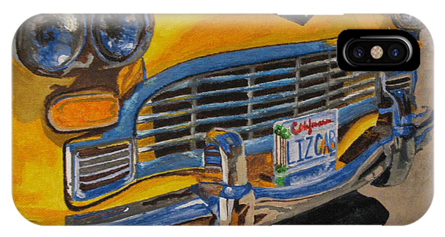 Car IPhone X Case featuring the painting Big Yellow Taxi by Nancie Johnson