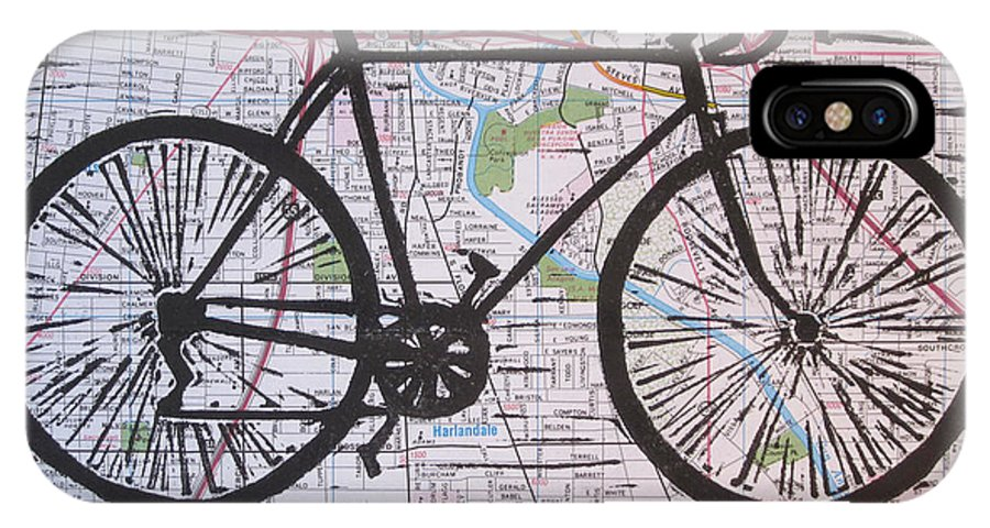 Bike IPhone X Case featuring the drawing Bike 8 On Map by William Cauthern