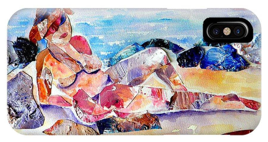 Beach IPhone X Case featuring the mixed media Bikini In Paradise by Sandy Ryan