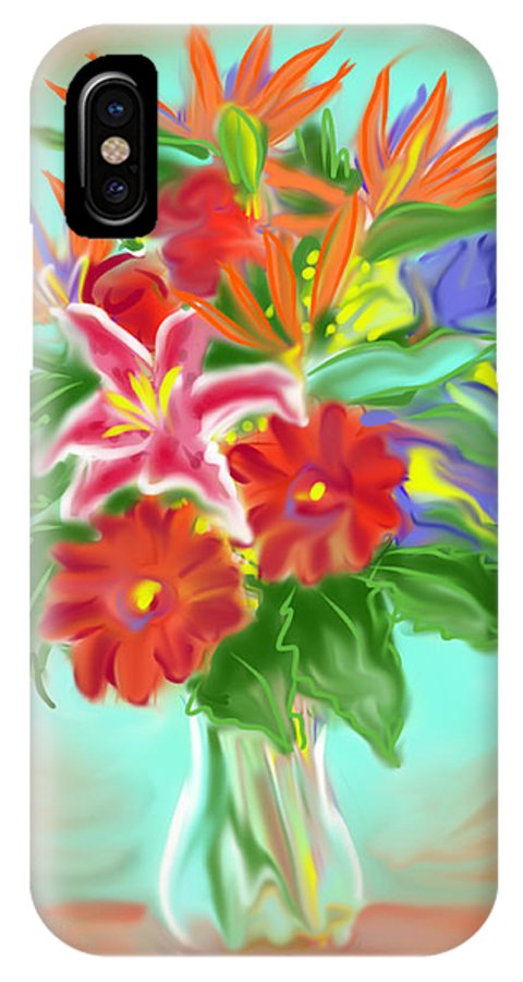 Flowers IPhone X / XS Case featuring the painting Billys Flowers by Jean Pacheco Ravinski