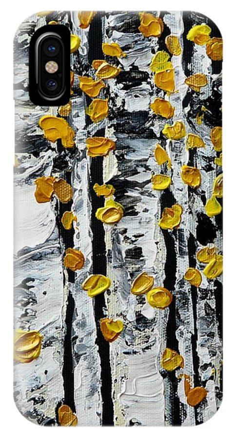 Birch IPhone X Case featuring the painting Birch Study Fall by Valerie Ornstein