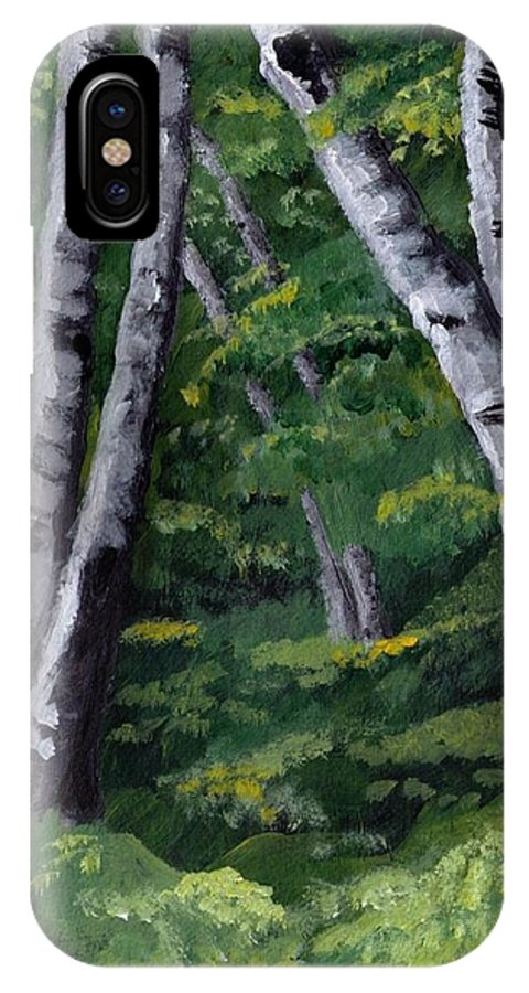 Trees IPhone X Case featuring the painting Birches by Jesslyn Fraser