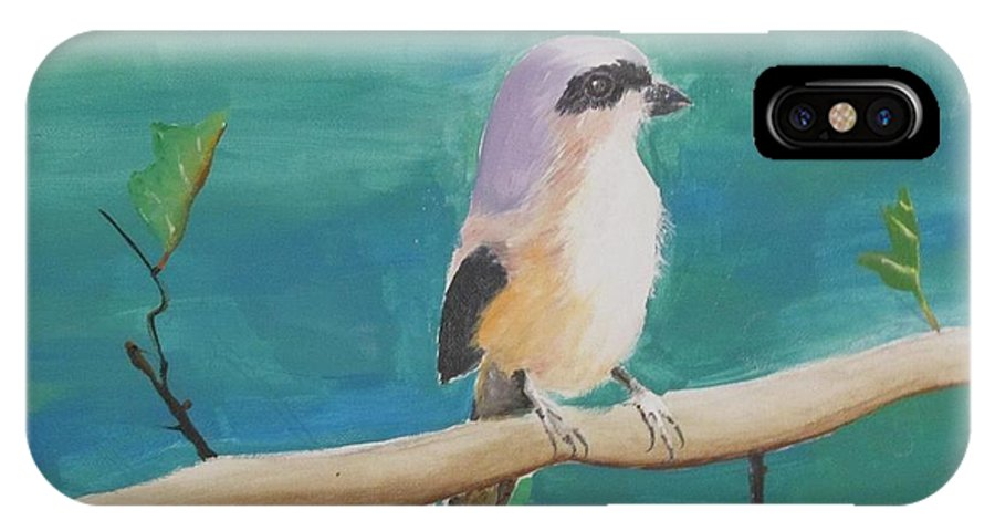 Bird IPhone X Case featuring the painting Bird By The Lake by Shreya Nag