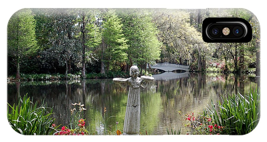 Bird Girl IPhone X Case featuring the photograph Bird Girl Of Magnolia Plantation Gardens by Suzanne Gaff