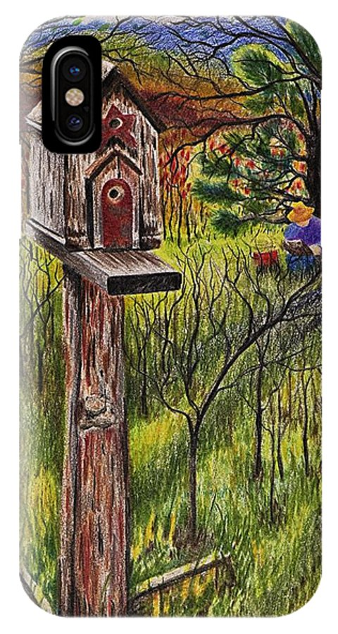 Bird House IPhone X Case featuring the drawing Bird House by Joy Bradley
