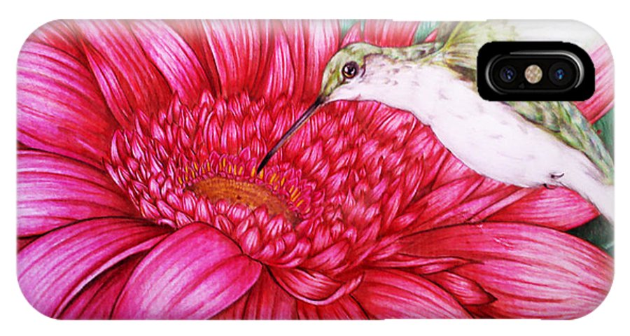 Bird IPhone X Case featuring the drawing Bird In Bloom by Derrick Bruno-Rathgeber