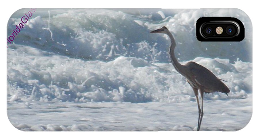 Beach IPhone X Case featuring the photograph Bird In Surf by Coleen Stoike