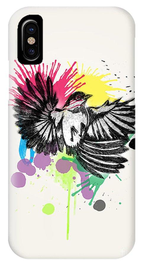 Owl IPhone X Case featuring the digital art Bird by Mark Ashkenazi