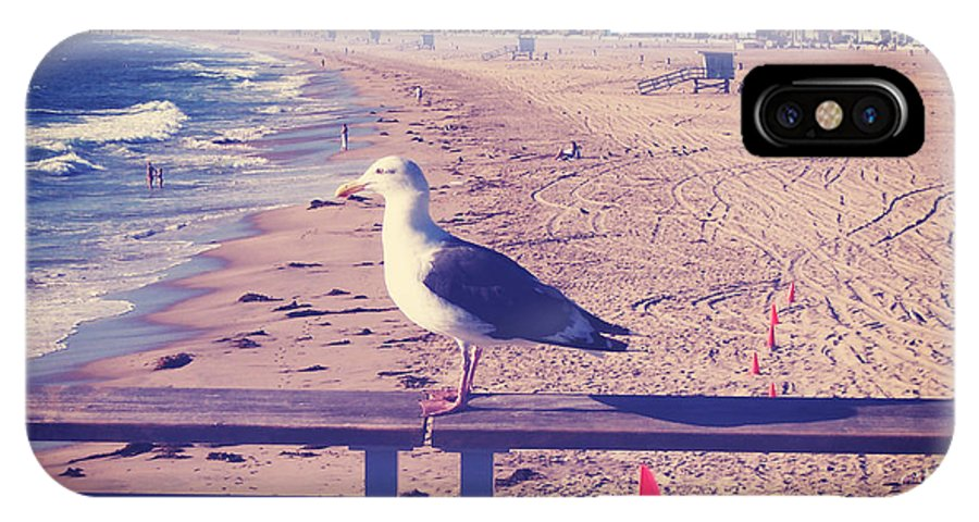 Bird IPhone X Case featuring the photograph Bird On A Rail by Phil Perkins