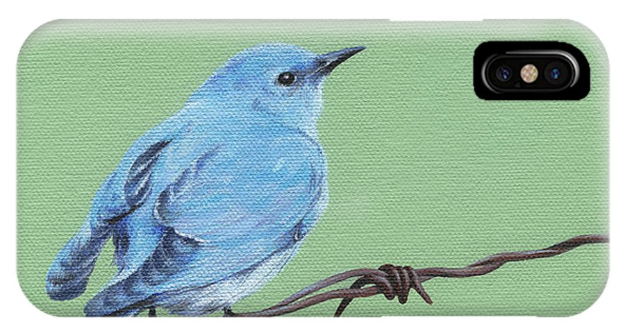 Blue IPhone X Case featuring the painting Bird On A Wire by Natasha Denger