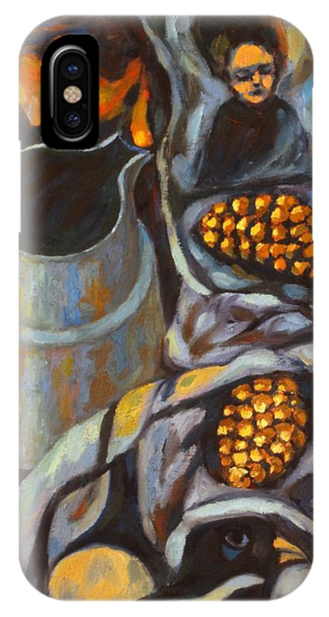Still Life IPhone X Case featuring the painting Bird Scarf by Kendall Kessler