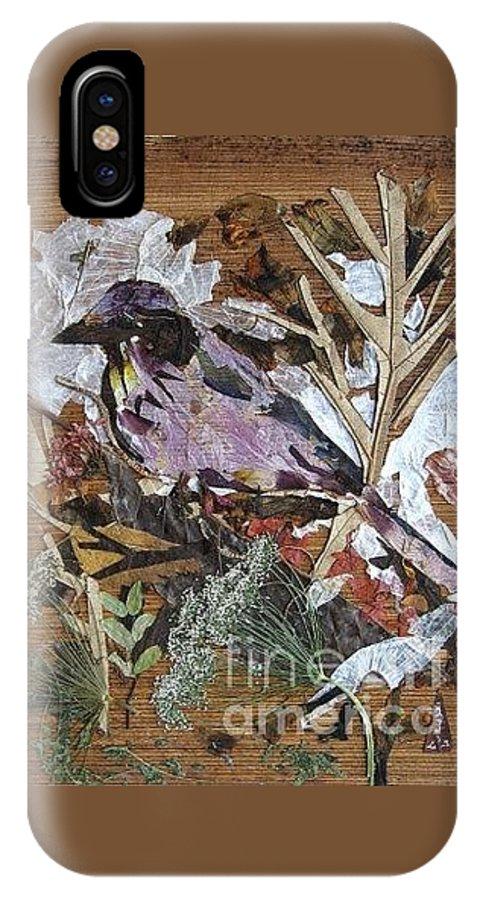 Bird Scrub Joy IPhone X Case featuring the mixed media Bird Scubjoy by Basant Soni
