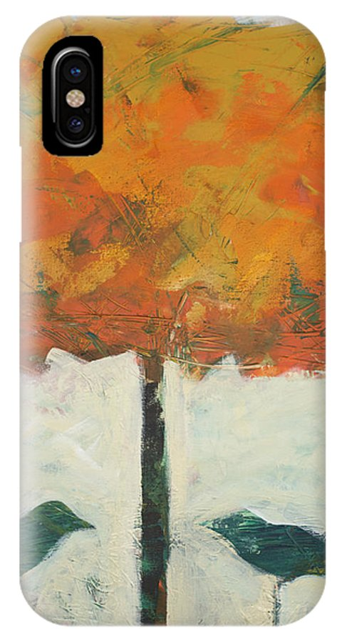 Bird IPhone X Case featuring the painting Birds And Maple by Tim Nyberg