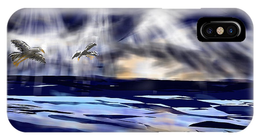 Seascape IPhone X Case featuring the digital art Birds In The Light by Nancy Good