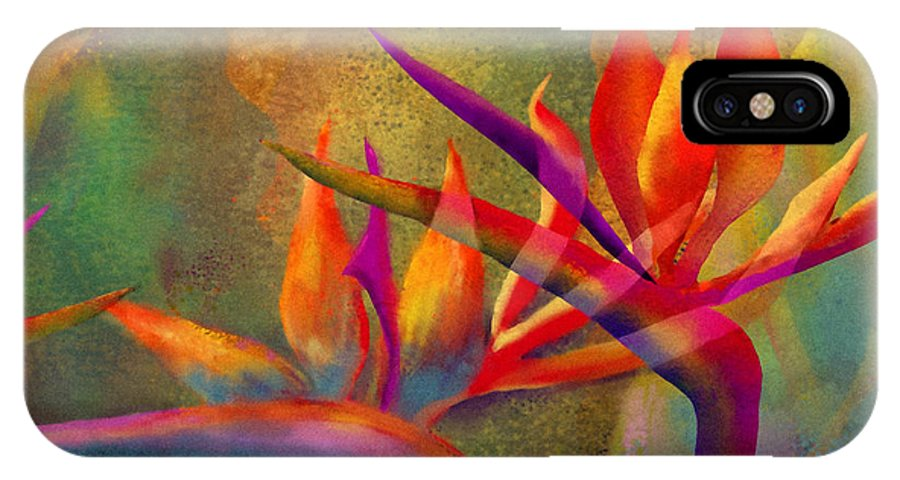 Birds Of Paradise IPhone X Case featuring the painting Birds in the Mist by Francine Dufour Jones