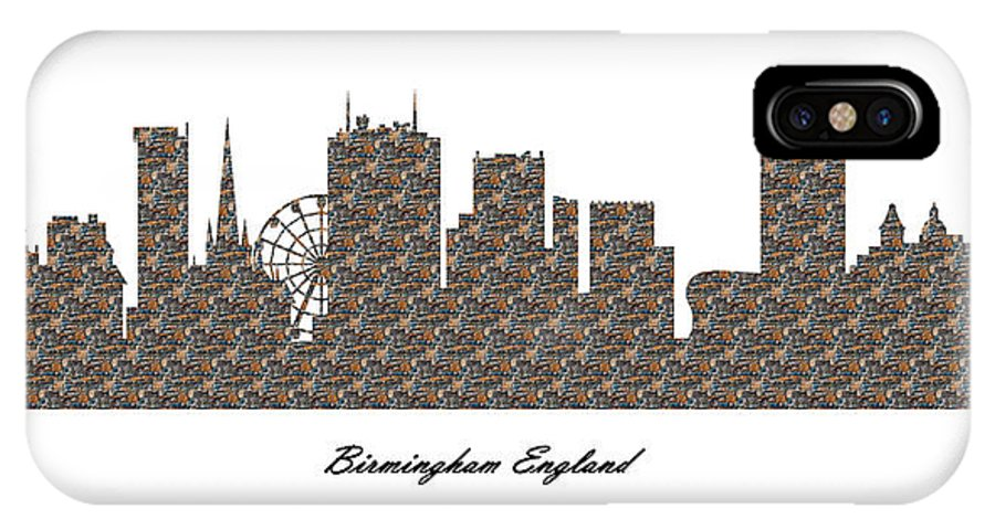 Fine Art IPhone X Case featuring the digital art Birmingham England 3d Stone Wall Skyline by Gregory Murray