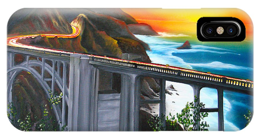 Beautiful California Sunset! IPhone X Case featuring the painting Bixby Coastal Bridge Of California At Sunset by Dunbar's Modern Art