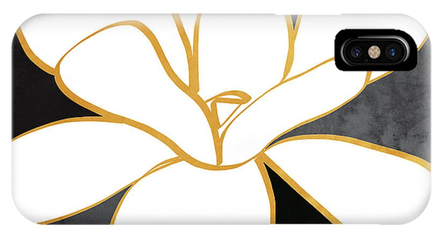 Magnolia IPhone X Case featuring the painting Black And Gold Magnolia- Floral Art by Linda Woods
