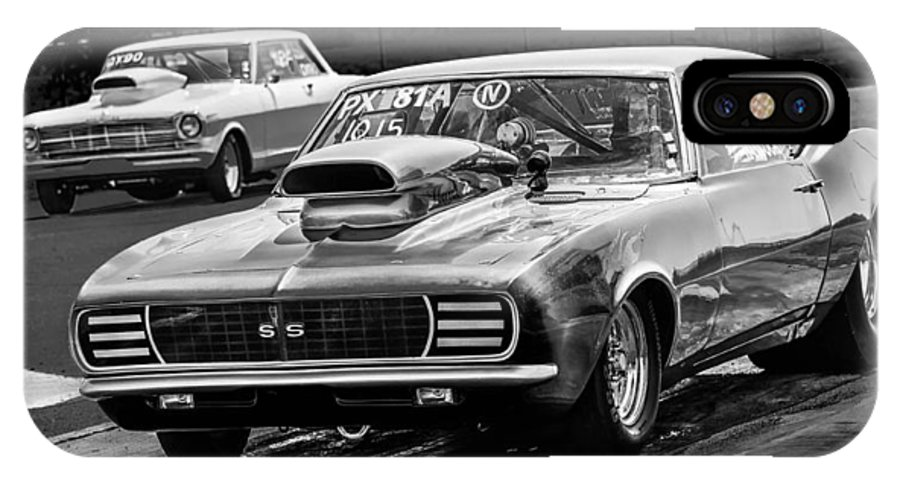Chevy IPhone X Case featuring the photograph Black And White Chevy Camaro Ss Hotrod by Michael Moriarty