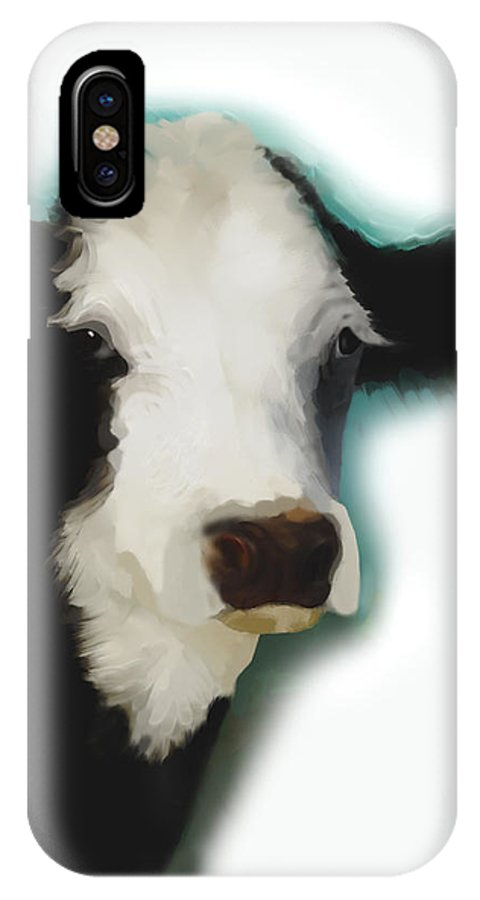 Cow IPhone X / XS Case featuring the painting Black And White Cow On White by Ann Powell