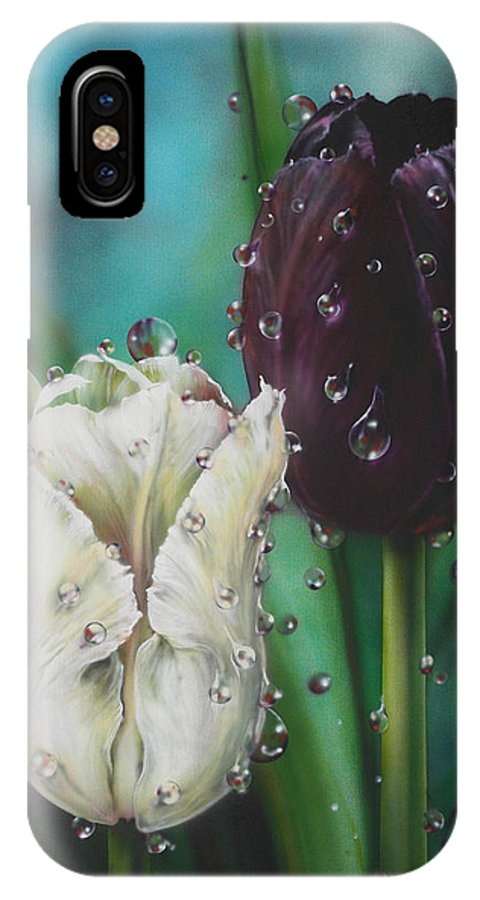 Tulips IPhone X Case featuring the painting Black And White by Lynette Yencho