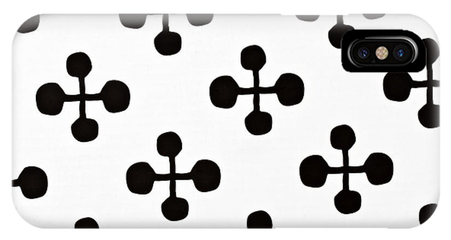 Abstract IPhone X Case featuring the photograph Black And White Pattern Fabric by IB Photography