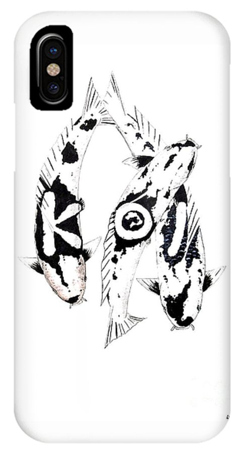 Tattoo Nishikigoi Carp Koi Paintint Art Kichi Gordon Lavender Waddinton Chinese Eight 8 Painting Japanese Koi.utsuri Mono.japan Koi.carp.black And White.kohaku.tancho.ogon.hi. IPhone X Case featuring the painting Black And White Trio Of Koi by Gordon Lavender