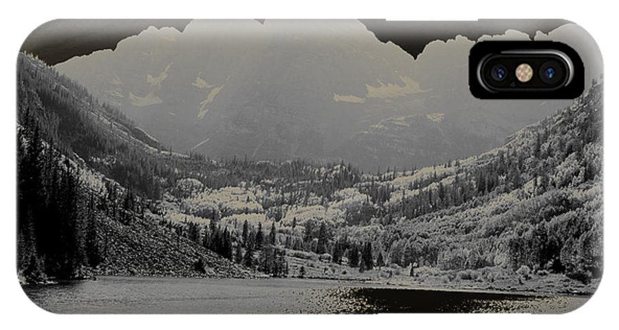 Maroon Bells IPhone X Case featuring the photograph Black Bells by Jeremy Rhoades