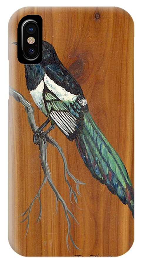 Animals IPhone X Case featuring the painting Black Billed Magpie by Ruth Seal