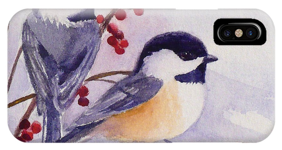 Birds IPhone X Case featuring the painting Black-capped Chickadees by Janet Zeh