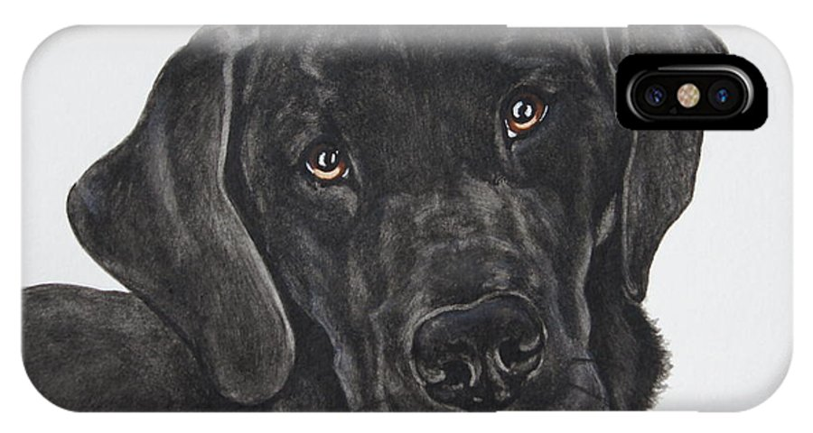 Black Lab IPhone X Case featuring the painting Black Lab by Megan Cohen