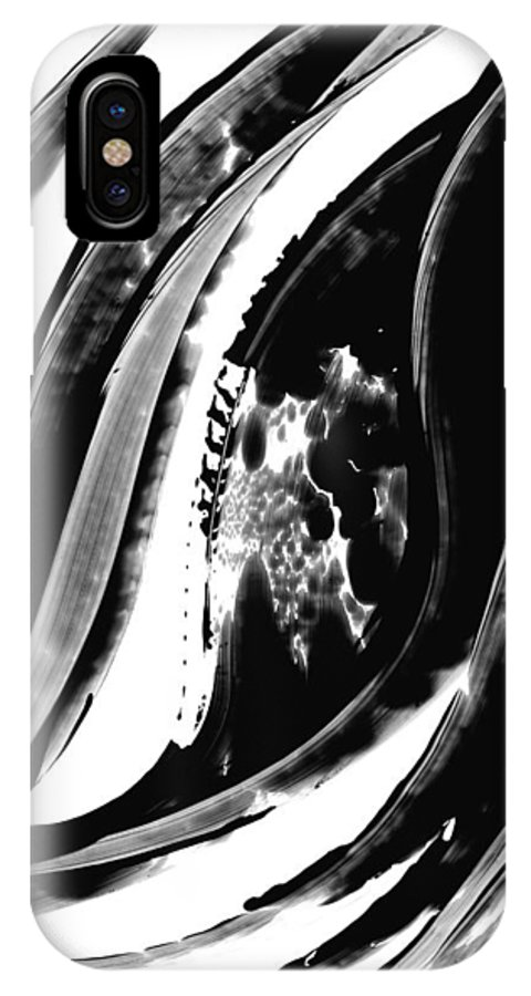 Black And White IPhone X Case featuring the painting Black Magic 302 By Sharon Cummings by Sharon Cummings