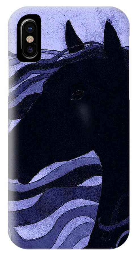 Horse IPhone X Case featuring the painting Black Magic by Kimber Butler