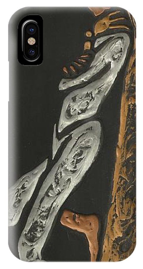 Black IPhone X Case featuring the photograph Black Man With Pipe by Lili Ludwick