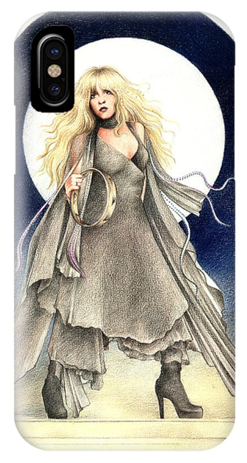 Stevie Nicks IPhone X Case featuring the drawing Black Moons by Johanna Pieterman