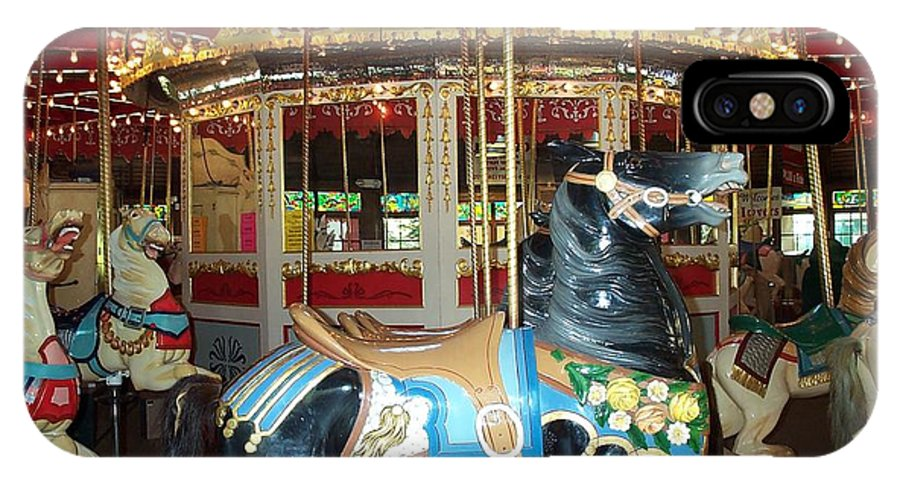 Carousel IPhone Case featuring the photograph Black Pony by Barbara McDevitt