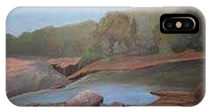 Rick Huotari IPhone X Case featuring the painting Black River Falls by Rick Huotari