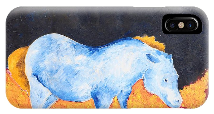 Modern IPhone X Case featuring the painting Black Rock by Zodiak Paredes