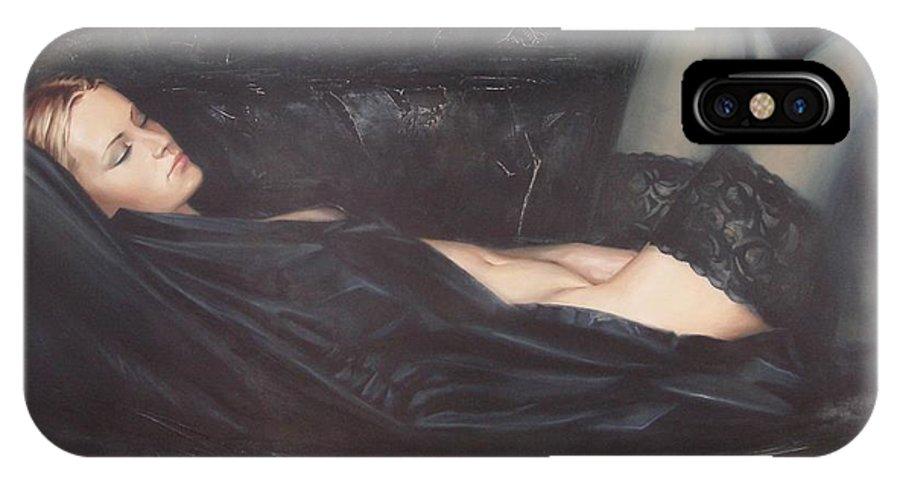 Ignatenko IPhone X Case featuring the painting Black Silk by Sergey Ignatenko