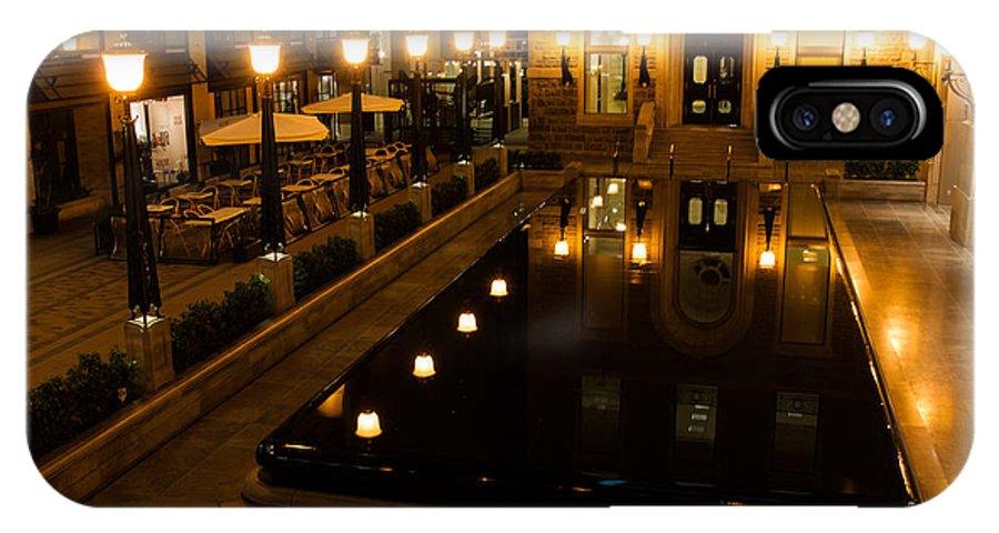 Lights IPhone X Case featuring the photograph Black Water Golden Lights by Georgia Mizuleva