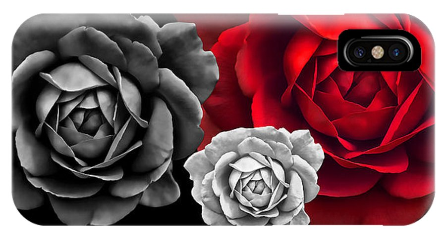 Black White Red Roses Abstract Iphone X Case