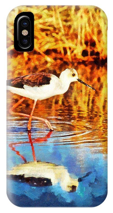 Rossidis IPhone X Case featuring the painting Black Winged Stilt II by George Rossidis