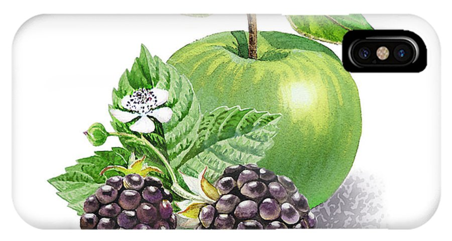 Apple IPhone X Case featuring the painting Blackberries And Green Apple by Irina Sztukowski