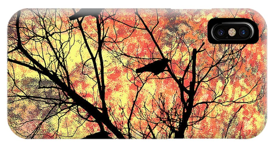 Blackbirds In A Tree IPhone X Case featuring the photograph Blackbirds In A Tree by Bill Cannon