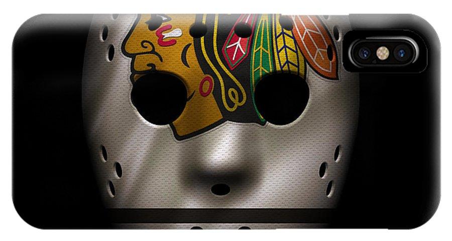 Blackhawks IPhone X Case featuring the photograph Blackhawks Jersey Mask by Joe Hamilton