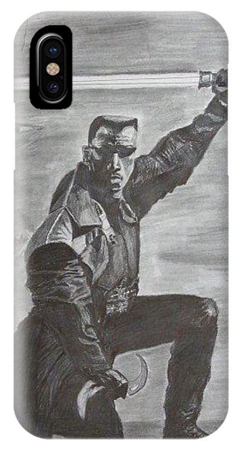 Wesley Snipes IPhone X Case featuring the drawing Blade by Chaz Morgan