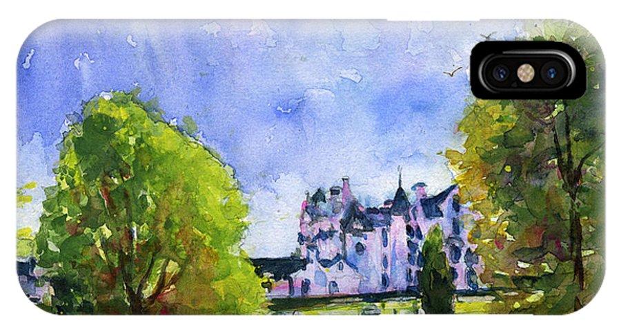 Blair Castle IPhone X Case featuring the painting Blair Castle Bridge Scotland by John D Benson