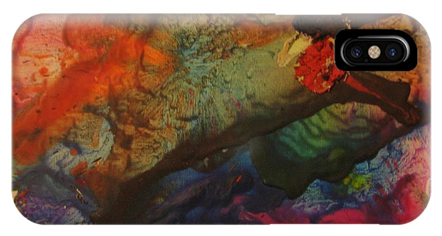 Abstract IPhone X / XS Case featuring the painting Blast From The Past by Lucy Matta - LuLu